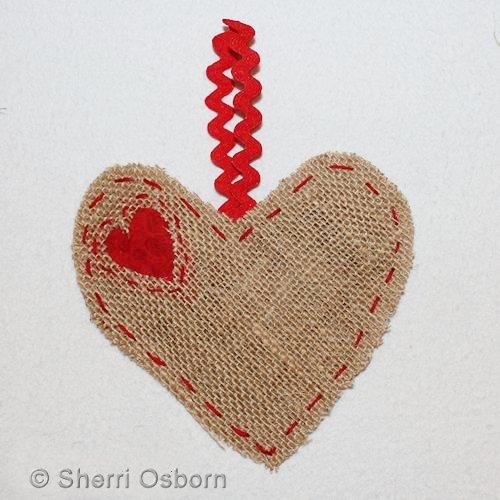 Burlap Heart Hanger Craft