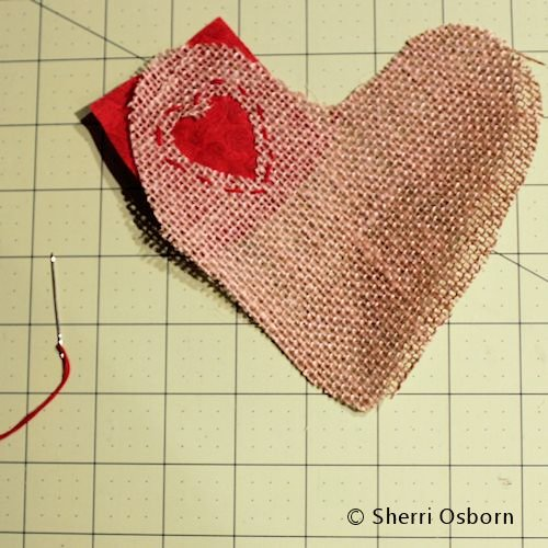 Sew Red Fabric to Your Burlap Heart