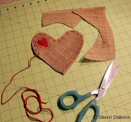 Cut out the Burlap Heart