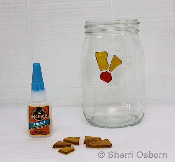 Glue Glass Pieces onto the Jar
