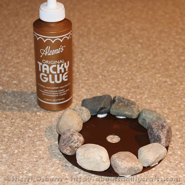 How to Glue the Rocks onto the CD Campfire
