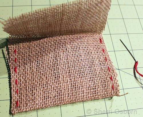 Sew the Sides of the Burlap Envelope