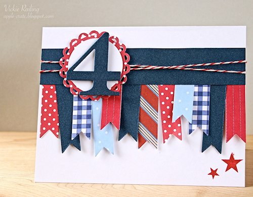 4th of July Flagged Border Card at The Apple Crate