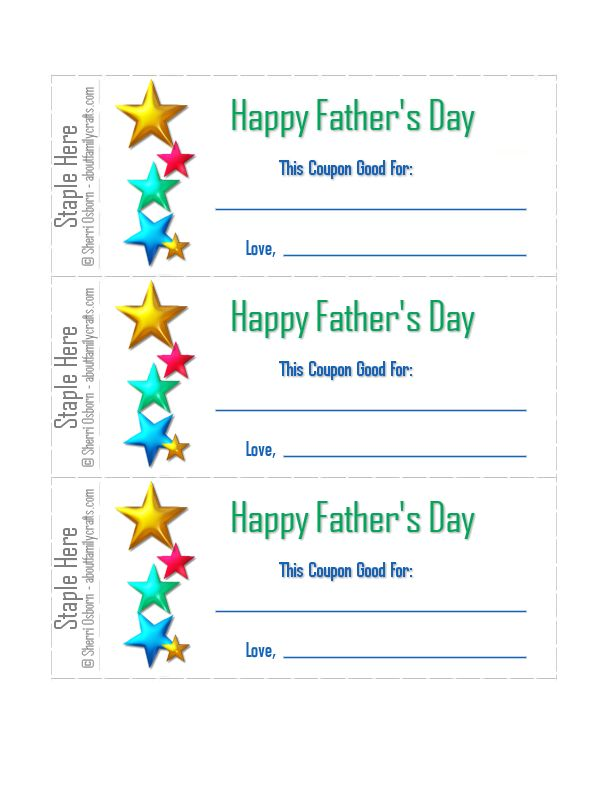 Printable Coupons For Father S Day About Family Crafts