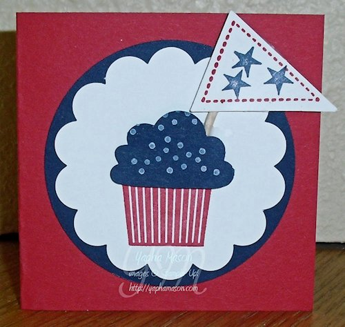 4th of July Cupcake Card at Rubber Stamping & Card Making with Yapha