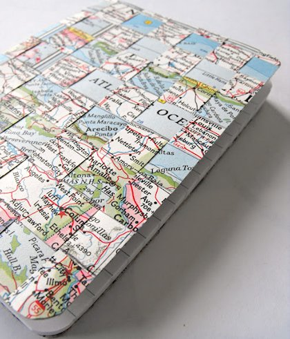Woven Map Notebook Cover