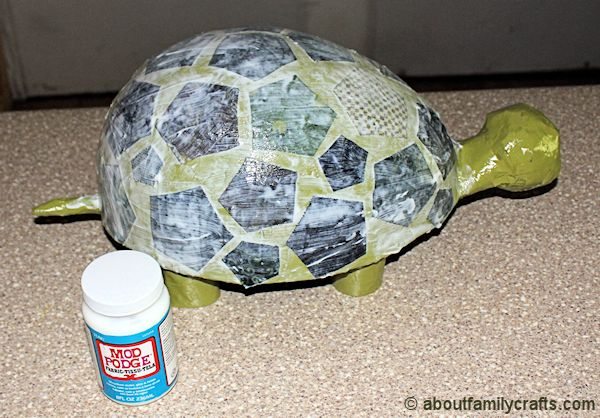 Finish Gluing Fabric on Turtle