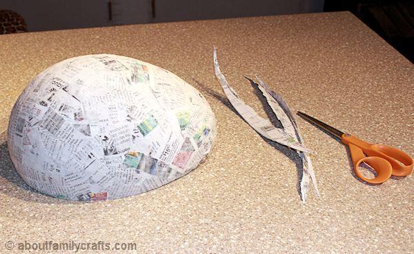 Trim the Paper Mache Turtle Shell