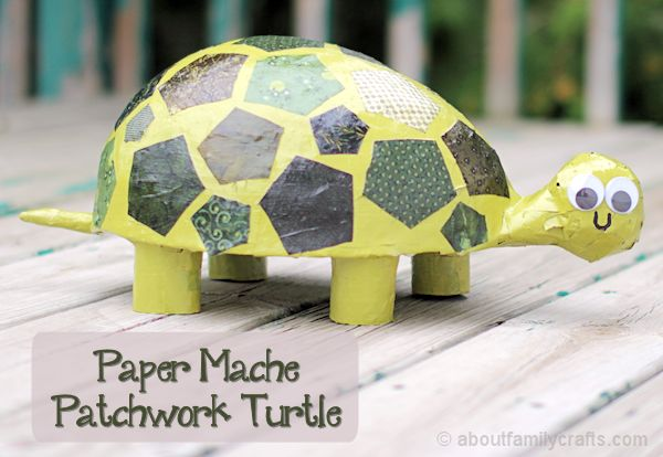 Paper Mache Patchwork Turtle Craft