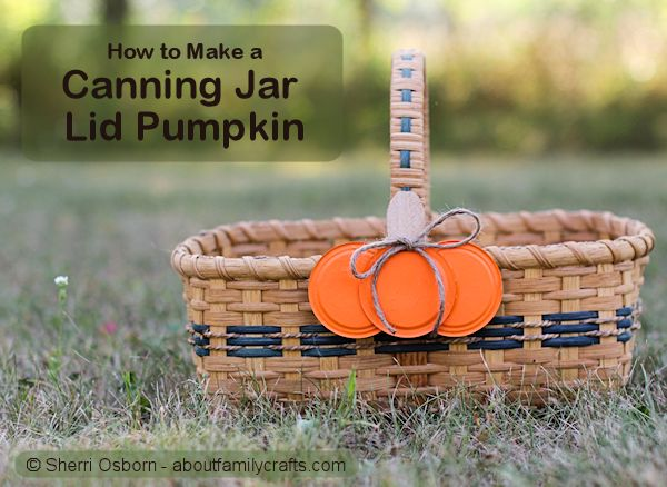 Canning Jar Lid Pumpkin Craft