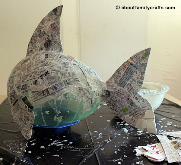 Make a paper mache pinata fish about family crafts for How to make a sculpture out of paper mache