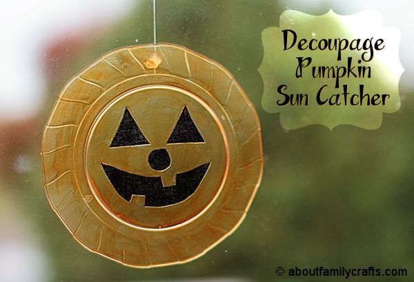 Decoupage Pumpkin Sun Catcher