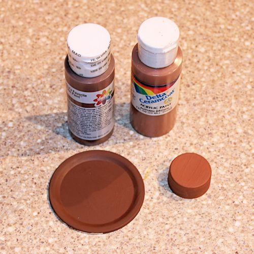 Painting the Canning Jar Lid and Bottle Cap