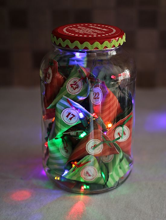 Lighted Advent Countdown Jar