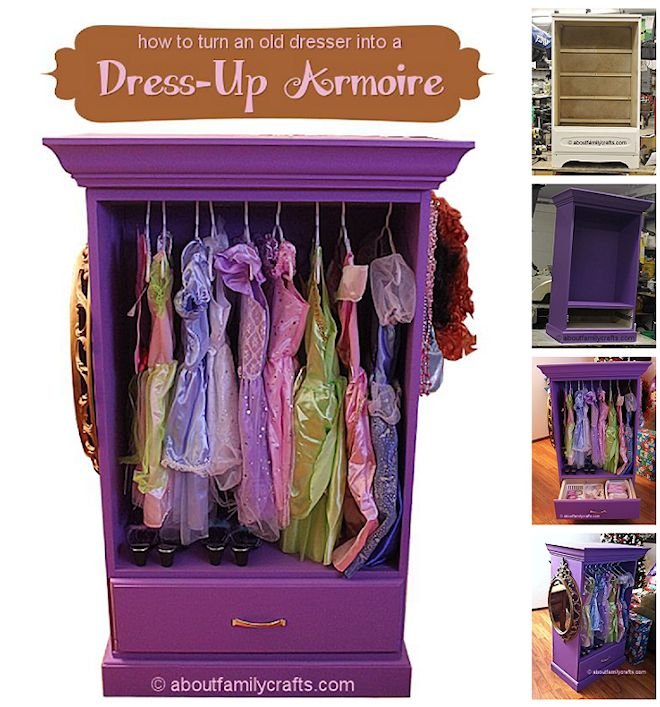 How To Repurpose A Dresser Into A Dress Up Armoire