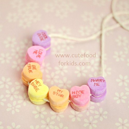 Edible Conversation Heart Necklace Craft