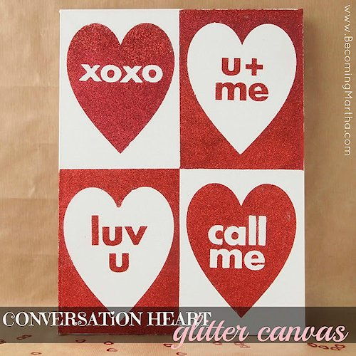 Conversation Heart Glitter Canvas Craft
