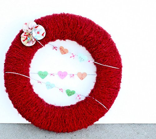 Conversation Heart Yarn Wrapped Wreath Craft
