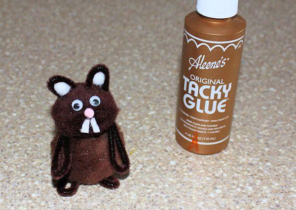 Glue on the groudhog's face