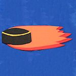 Hockey Puck with Flames 150
