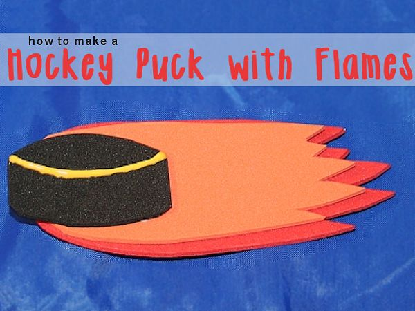 Hockey Puck with Flames