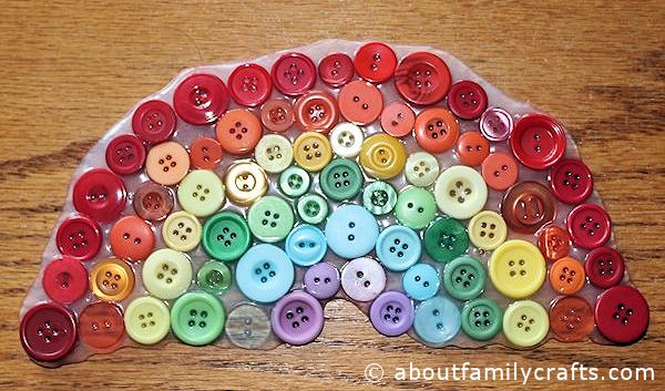 Button Rainbow Suncatcher Craft