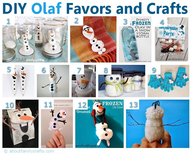 DIY Olaf Inspired Favors and Crafts