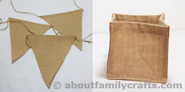 Burlap Box and Burlap Bunting Pieces