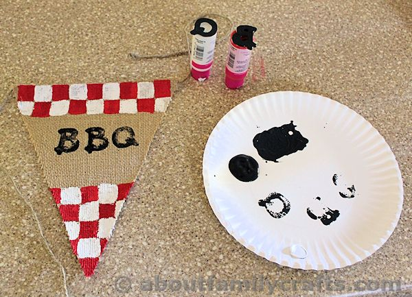 Stamp BBQ onto Burlap Bunting Pieces