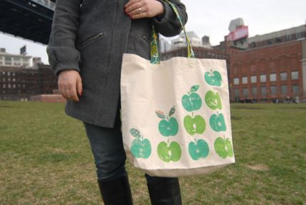 Apple Print Book Bag