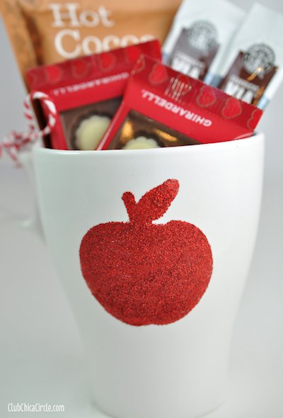 Glittery Teacher Appreciation Apple Mug