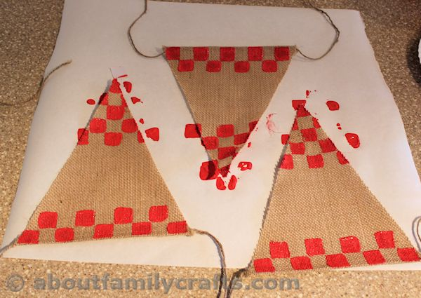 Stamp a Checkerboard Design onto the Bunting
