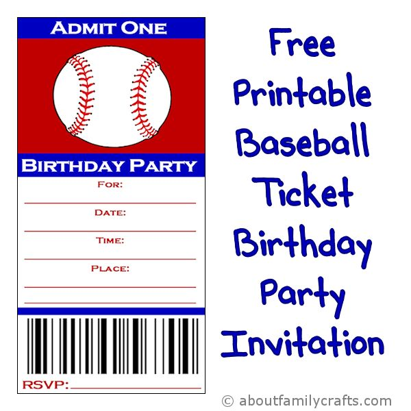 baseball ticket birthday party invitation  u2013 about family