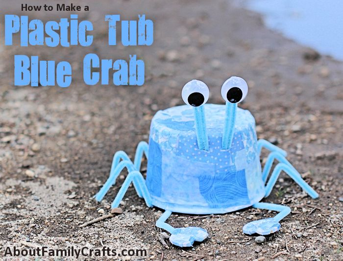 Plastic Tub Blue Crab Craft
