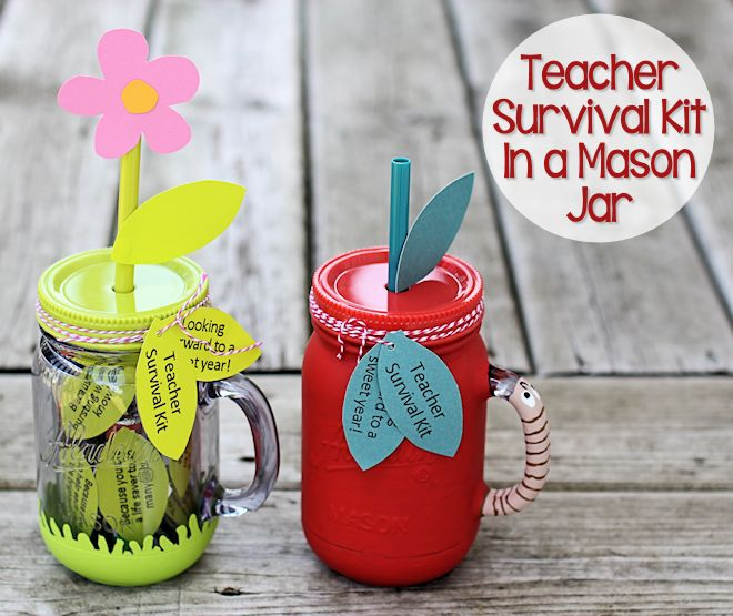 Teacher Survival Kits in a Mason Jars