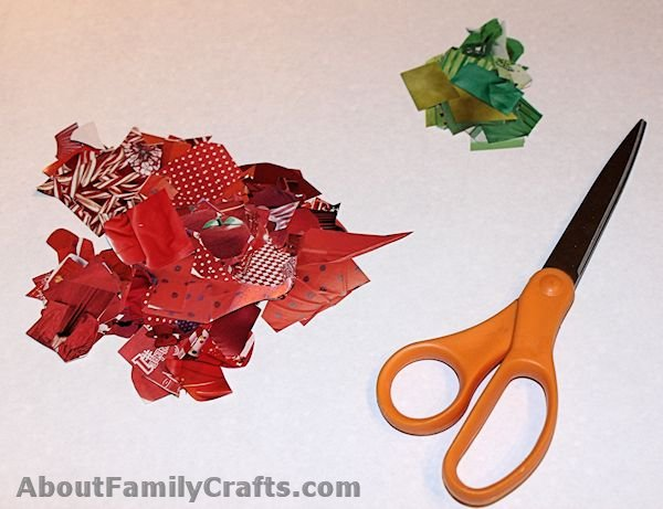 Cut Out Red and Green Catalog Pieces