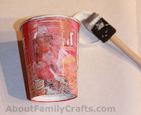 Glue catalog pieces on treat cup