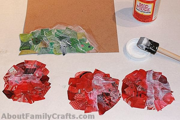 Decoupage apple pieces and Leaves