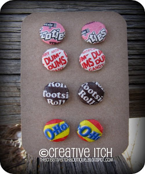 Candy Wrapper Button Earrings