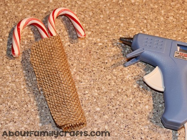 glue burlap onto candy canes