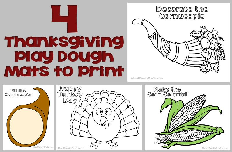 4 Printable Thanksgiving Play Dough Mats
