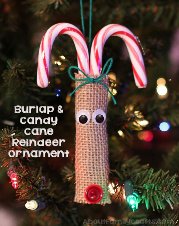Burlap And Candy Cane Reindeer Ornament About Family Crafts