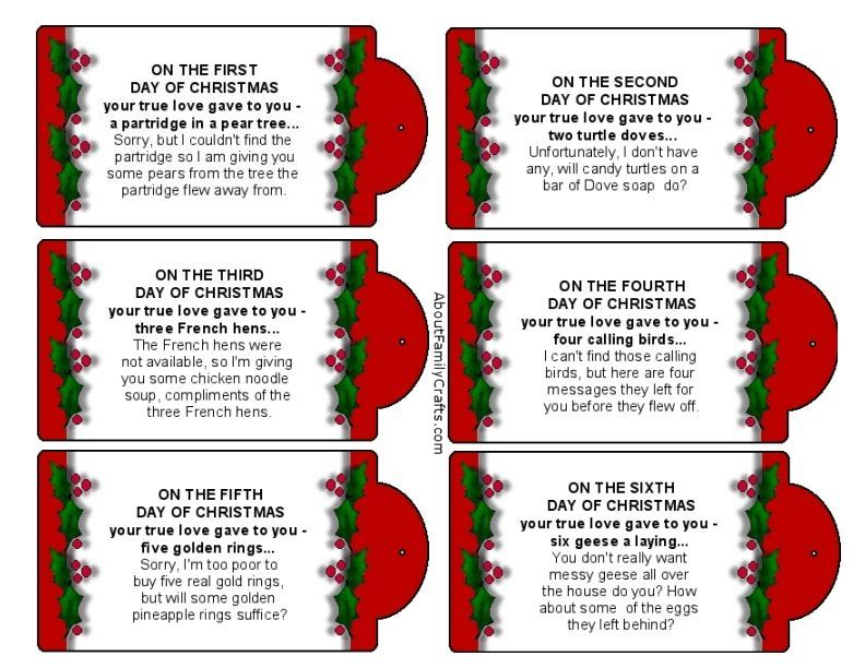 photo relating to 12 Days of Christmas Printable Templates referred to as Foolish 12 Times of Xmas Printable Tags Relating to Spouse and children Crafts