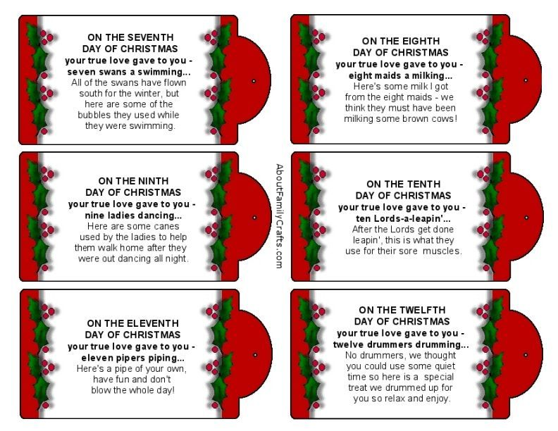 It's just a picture of Agile Words to 12 Days of Christmas Printable