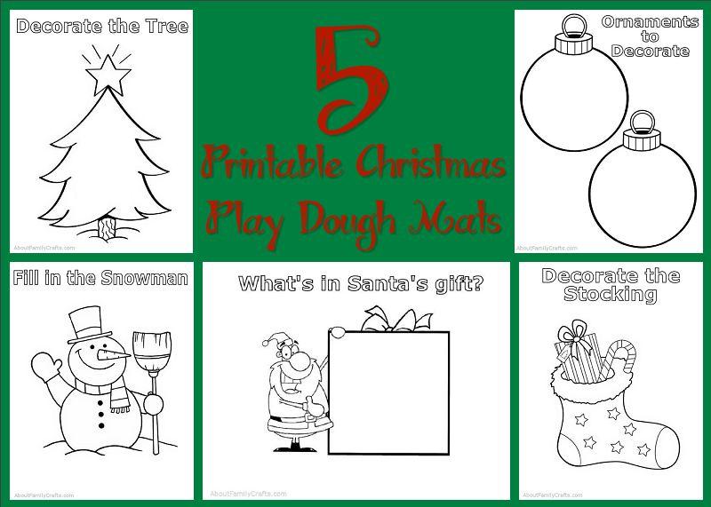 5 Printable Christmas Play Dough Mats