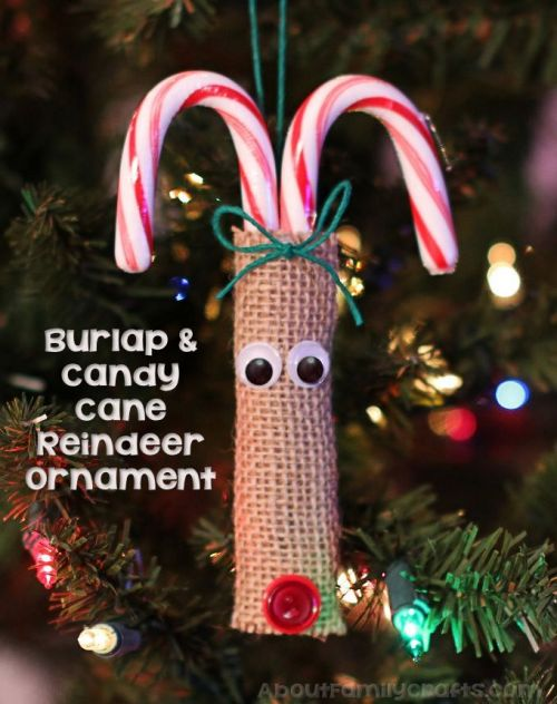 Burlap and Candy Cane Reindeer Ornament
