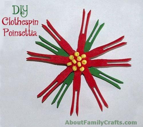 DIY Clothespin Poinsettia