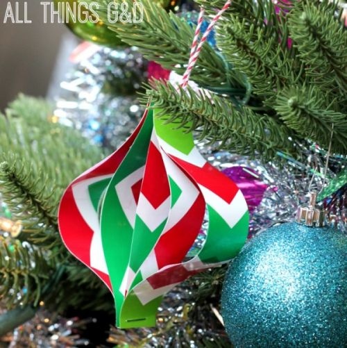 DIY Ornaments Made From Wrapping Paper Scraps