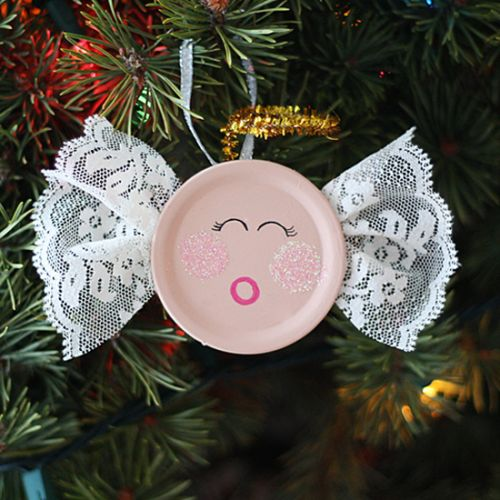 Recycled Canning Lid Angel Ornament