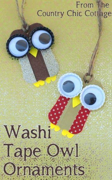 Washi Tape Owl Ornaments